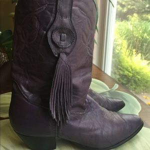 LAREDO PURPLE LEATHER WESTERN BOOTS SIZE 10